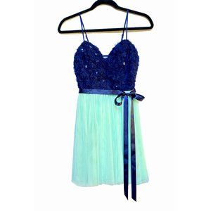 B Darlin Sequin Flower Embroidered Tulle Dress